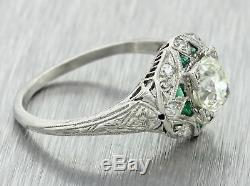 1920s Antique Art Deco Estate Platinum. 98ct Diamond Emerald Engagement Ring EGL