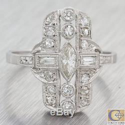1920s Antique Art Deco Estate Platinum Diamond. 50ctw Diamond Cocktail Ring F8