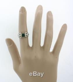 1920s Antique Art Deco Estate Platinum Gold. 75ct Emerald Diamond Cocktail Ring