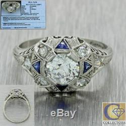 1920s Antique Art Deco Platinum 1.04ct Diamond Sapphire Engagement Ring T1