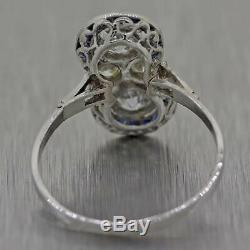 1920s Antique Art Deco Platinum 1.15ctw Diamond Sapphire Cocktail Ring