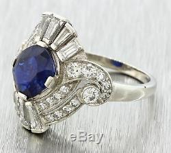 1920s Antique Art Deco Platinum 2.01ct Natural Sapphire. 92ct Diamond Ring