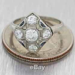 1920s Antique Art Deco Platinum. 56ctw Diamond Sapphire Engagement Ring N8