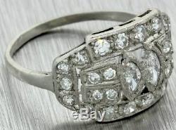 1920s Antique Art Deco Platinum Marquise 1.00ct Diamond Cluster Cocktail Ring