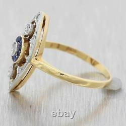 1920s Antique Art Deco Platinum on Yellow Gold Sapphire Diamond Cocktail Ring