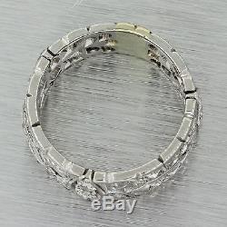 1920s Antique Art Deco Solid Platinum 1.14ctw Diamond Filigree Band Ring