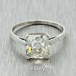 1920s Antique Art Deco Solid Platinum 2.61ct French Cut Diamond Ring GIA