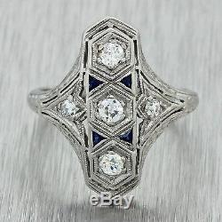 1920s Antique Art Deco Solid Platinum. 22ctw Diamond Sapphire Filigree Ring