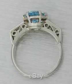 1920s Antique Art Deco Solid Platinum 2ct Aquamarine Baguette Diamond Ring
