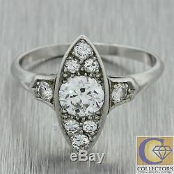 1920s Antique Art Deco Solid Platinum. 90ctw Old Mine Cut Diamond Navette Ring