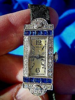 1920s Art Deco Raymond Yard vintage Antique Diamond Sapphire Platinum watch