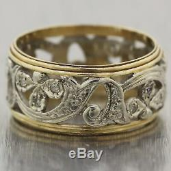1930 Antique Art Deco 14k Yellow & White Gold Filigree Diamond Wedding Band Ring