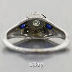1930 Antique Art Deco 18k White Gold Diamond & Sapphire Filigree Engagement Ring