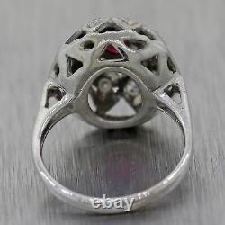 1930's Antique Art Deco 14k White Gold 0.27ctw Ruby & Diamond Dome Ring