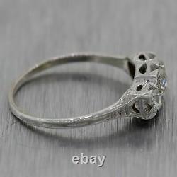 1930's Antique Art Deco 14k White Gold 0.63ctw Three Stone Diamond Ring