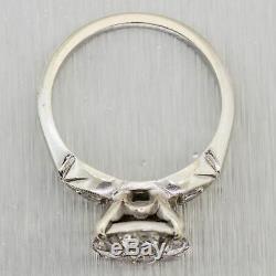1930's Antique Art Deco 14k White Gold 0.70ctw Diamond Plated Ring