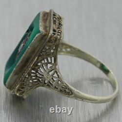 1930's Antique Art Deco 14k White Gold Green Onyx & Diamond Filigree Ring