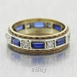 1930's Antique Art Deco. 14k Yellow Gold 1.20ctw Sapphite & Diamond Ring