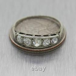 1930's Antique Art Deco 18k White Gold 1.00ctw Diamond Ring