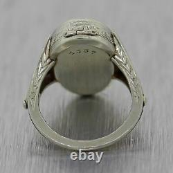 1930's Antique Art Deco 18k White Gold Watch Ring