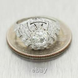 1930's Antique Art Deco Platinum 1.50ctw Diamond Ring