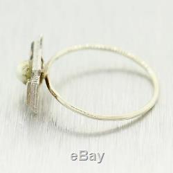 1930's Antique Art Deco Platinum & 14k White Gold 0.10ctw Diamond & Pearl Ring