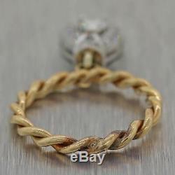 1930's Antique Art Deco Platinum & 14k Yellow Gold Diamond Dangle Ring