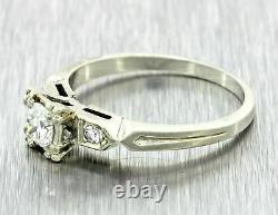 1930s Antique Art Deco 14k Solid White Gold. 25ctw Diamond Engagement Ring