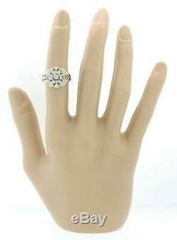 1930s Antique Art Deco 14k Solid White Gold. 40ctw Diamond Filigree Dome Ring