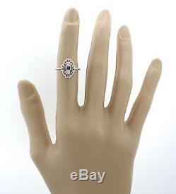 1930s Antique Art Deco 14k Solid White Gold Diamond Sapphire Filigree Ring