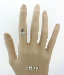 1930s Antique Art Deco 14k White Gold. 04ctw Diamond Sapphire Ring