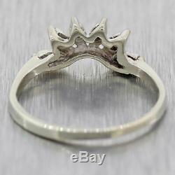 1930s Antique Art Deco 14k White Gold. 05ctw Diamond Wedding Guard Ring