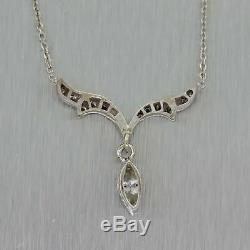 1930s Antique Art Deco 14k White Gold. 75ctw Diamond Pendant Necklace
