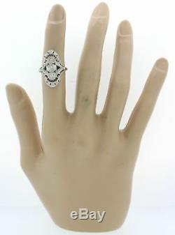 1930s Antique Art Deco 14k White Gold Diamond Sapphire Filigree Cocktail Ring