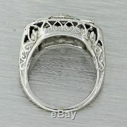 1930s Antique Art Deco 18k Solid White Gold. 14ct Diamond Sapphire Filigree Ring
