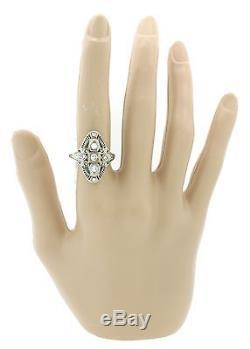 1930s Antique Art Deco 18k White Gold. 40ctw Diamond Emerald Filigree Ring