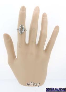 1930s Antique Art Deco 18k White Gold Filigree 8ctw Aquamarine Cocktail Ring Y8