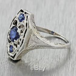 1930s Antique Art Deco Estate 14k Solid White Gold. 35ctw Sapphire Filigree Ring