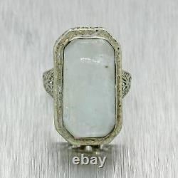 1930s Antique Art Deco Estate 14k White Gold Filigree Moonstone Cocktail Ring