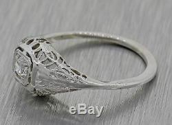 1930s Antique Art Deco Estate 14k White Gold Solitaire Diamond Ring F8