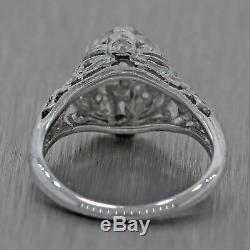 1930s Antique Art Deco Estate 18k White Gold 1.10ctw Diamond Engagement Ring
