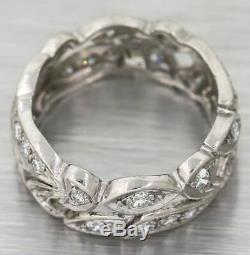 1930s Antique Art Deco Filigree Platinum. 50ctw Diamond 7mm Wide Band Ring S8