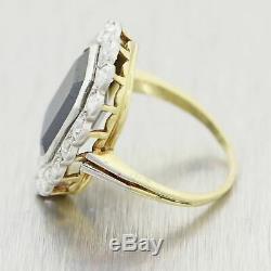 1930s Antique Art Deco Platinum & 18k Yellow Gold 6.5ctw Sapphire & Diamond Ring