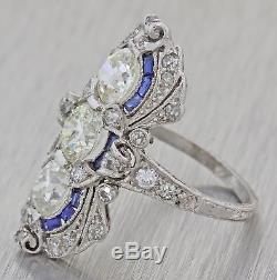 1930s Antique Art Deco Platinum 2.08ctw Diamond Sapphire Engagement Ring EGL F8