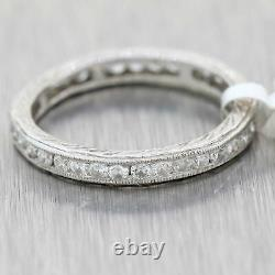1930s Antique Art Deco Platinum 2mm. 50ct Diamond Eternity Wedding Band Ring A9