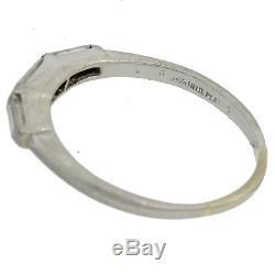1930s Antique Art Deco Platinum. 40ct Baguette Diamond 2mm Wedding Band Ring