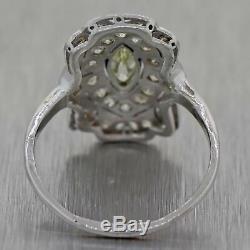 1930s Antique Art Deco Platinum. 50ctw Diamond Cocktail Ring