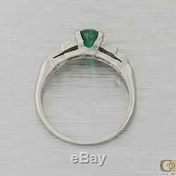 1930s Antique Art Deco Platinum. 60ctw Green Emerald Diamond Engagement Ring A8