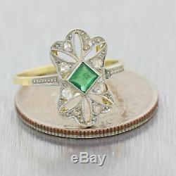 1930s Antique Art Deco Platinum on Yellow Gold Emerald Diamond Cocktail Ring