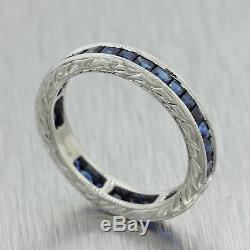 1930s Antique Art Deco Solid Platinum. 64ctw Baguette Sapphire 3mm Band Ring